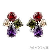 2014 New design Swiss Zircon Stud Earrings exaggerated Austrian Crystal women's top Quality Stud earrings (FE-66)