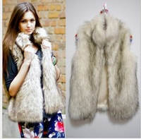 2014 Top Fasion Freeshipping  Faux Fur Female Vest Plus Size Women Fur Warm Coat  Beige Stand Collar Outerwear S-3XL