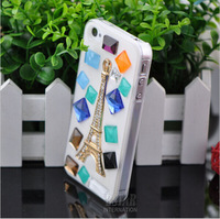 High quality DIY Eiffel Tower shape Luxury Bling Crystal Rhinestone Hard Back Case Cover for iPhone 4 4S PT1227 free shipping