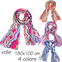 voile rainbow color chevron scarf, fashion oversize scarf, 180x100 cm