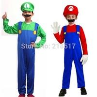 Hot Kids Super Mario Bros Cosplay Costume Set,Kids Halloween Party MARIO & LUIGI Costume For Kids D-1527