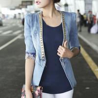New 2014 Jeans Jacket Women Casual Blazer Ladie Slim V-neck Diamond Denim Jackets Casacos Feminino Free Shipping WWJ058