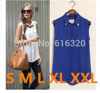Beautiful all match plus size casual chiffon shirt women 2014 summer sleeveless blouse black yellow blue white HSHN948