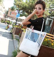 Summer Korean Fashion Women Handbags Lace Transparent Plastic Beach Bag Brand Ladies Candy Color Casual Shoulder Jelly Bag