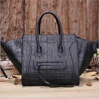 2014 Hot sale bat crocodile  Genuine leather skin smiley shaping  women's handbag