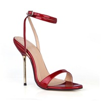 New Sexy 4 color pearl patent leather Red bottom fine high-heeled sandals women party / wedding pumps size35-43 Heel height 12cm