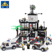 Kazi Police Station Building Block Sets Educational DIY Construction Bricks Toys For Children Compatible Free Shipping