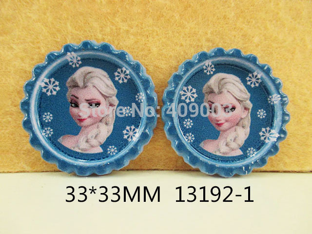 50Y13192 free shipping 33*33mm cartoon pattern flattened bottle caps diy hairbow hair bows necklace decoration accessories(China (Mainland))