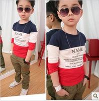 4pcs/lot 2014 hot sale boys fashion patchwork cotton t shirt children long sleeve tops 290