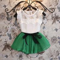5set/lot wholesale chiffon pleated kids 2pcs set shirt skirt for summer fashion gril clothes sets casual child clothes