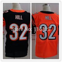 2014 Draft Pick Men's Football Jersey  Jeremy Hill #32 Elite Sprots Jerseys-Orange,Black Size:40~56+Free Shipping,Mix Order