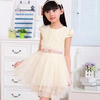 Girls dresses summer 2014 new fashion cute Children clothing baby little big kids girl lace veil rose flower princess dress