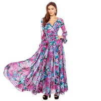 rainforest gorgeous purple flower printed long sleeves woman dress perspective for wholesale and free shipping haoduoyi