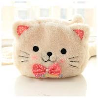 LS4G 2014 New  Cute Cartoon Cat Shape Soft Plush Cosmetic Makeup Bag Pouch Pen Pencil Case