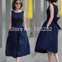 New 2014 Summer Fashion Women'Full dress Clothing Long Linen One-piece Dresses Plus size Black Girls'Sleeveless Dress with Belt