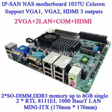 IP-SAN NAS mini itx motherboard 1037U dual-core Celeron Dual MSATA MINI ITX 12 SATA 2 COM (China (Mainland))