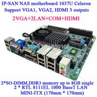 IP-SAN NAS mini itx motherboard 1037U dual-core Celeron Dual MSATA MINI ITX 12 SATA 2 COM