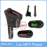 Multi-functional Car Kit Wireless FM Transmitter Modulator Car MP3 Player USB SD Red Color Background Light Free Shipping