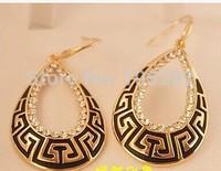 China Retro Antique Design Water Drop Dangle Earrings Gold Plated Black SWA Element Crystal Earrings Fashion Women Gift Earring