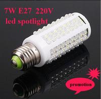 Free shipping,high bright LED bulb corn light 7W E27 220V Cold White or Warm White light LED lamp led 360 degree Spot light