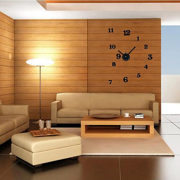 New Creative DIY Modern Time Interior Decor Room Numbers Wall Clock Black ES88(China (Mainland))