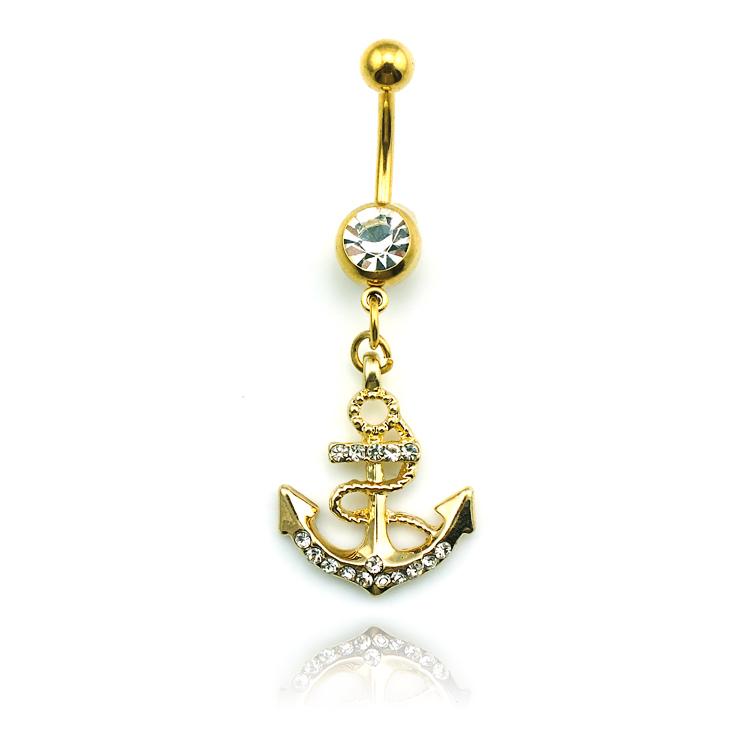 Livraison gratuite! Vente en gros d'ancrage. dangle nombril anneau nombril anneau de bijoux de corps dqk0752