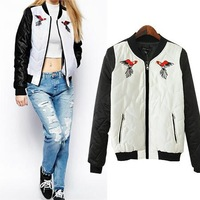2014 Summer New Fashion Casual Symmetrical Pattern Embroidered Contrast Color Coat Womens Casaul Jacket