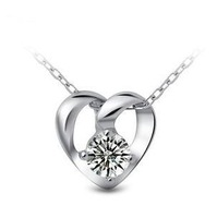 Free shipping 2014 new arrive romantic love heart zircon crystal 925 sterling silver jewelry pendant necklaces wholesale