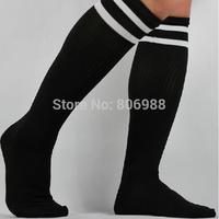 Wholesale High quality Breathable Superior Flexibility Cotton black adult football socks soccer stockings