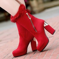 Winter 2014 new European and American star Fan thick with big red boots child marriage waterproof round Martin boots