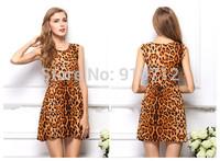2014 New Fashion Women Autumn Summer Dress  Leopard Sleeveless Plus Size Casual Mini Party Evening Dresses Vestido de Festa
