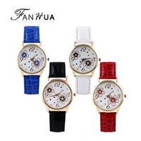 Multicolor PU Leather Glass Analog Quartz Wrist Watch New 2014 Summer Flower Decoration Fashion Designer For Women
