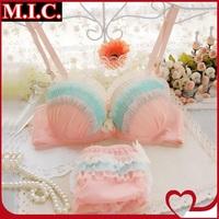 New 2014 summer women sweet bra set young girl rainbow color chiffon underwear sexy lace push up princess bra & brief sets