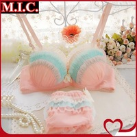 New 2014 summer women sweet bra set young girl rainbow color chiffon underwear sexy lace push up princess bra & brief sets