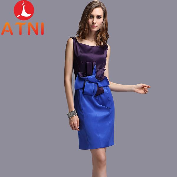 ATNI high quality ! high street Fashion bow hit the color Slim thin sleeveless dress bridesmaid bodycon patchwork dress(China (Mainland))