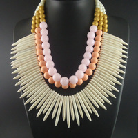 Newest Unique Big Bib Neon Chunky White Choker Beaded Chain Statement Necklaces Jewelry For Women