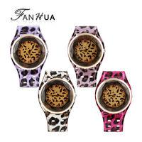 New 2014 Summer Fashion Designer Multicolor PU Leather Leopard Decoration Wristband Acrylic Analog Quartz Wrist Watch For Women