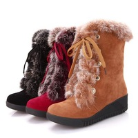 2014 Winter explosion models super comfortable slope with real rabbit fur wrap round warm fluff inside boots lace snow boots