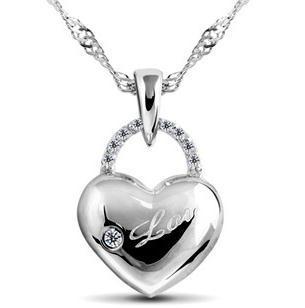 Free shipping 2014 new design polishing mirror love heart birthday valentine s day gift 925 pure
