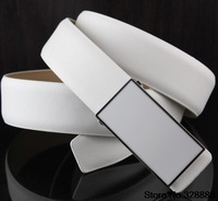 Free shipping Hot Men's leather belt leather simple wild Korean version of the plate buckle belt men belt male white belt tide
