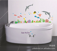 Wall Stickers Creative household DIY removable waterproof sticker bathroom stickers Underwater World AY752