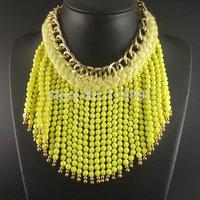 Newest Bib Chunky Choker Beaded Long Tassel  Chain Blue Yellow Handmade Statement Necklaces Jewelry For Women
