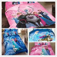 wholesale 10sets Princess Elsa Anna Olaf duvet cover bedclothes bed linen queen twin king 3d bedding set cartoon cotton bed set