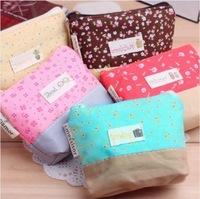 New Fashion Zipper Women Coin Purse Wallet Purse Cartoon Key Fabric Cotton Canvas Bag Free Shipping