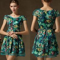 New 2015 Dresses Women Fashion Plus Size Dress For Women Short-sleeve One-piece Dress Pleated Print Chiffon Women Dress 58015
