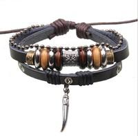 Dropshipping 2014 New 3pcs Bracelet multilayer for women&men Vintage tibetan Charm black Leather Bracelets & Bangles  2115