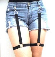 Black garter belt harness thigh leg set