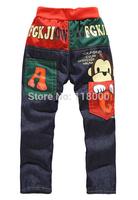 2014 hot sells Wholesale free shipping boys fashion cartoon prints jean trousers 1lot=4pcs denim pants