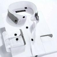 men  Fashion  dress  slim fit  shirt  100%Cotton Double collar long Sleeve  striped camiseta shirts  P05-6 XS S M L  XL XXL XXXL