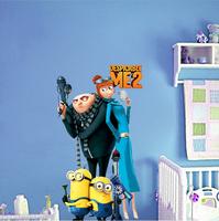 2014 Fashion Cartoon Wall Sticker, Minions PVC Wall Sticker Despicable Me II Free Shipping 25*70cm